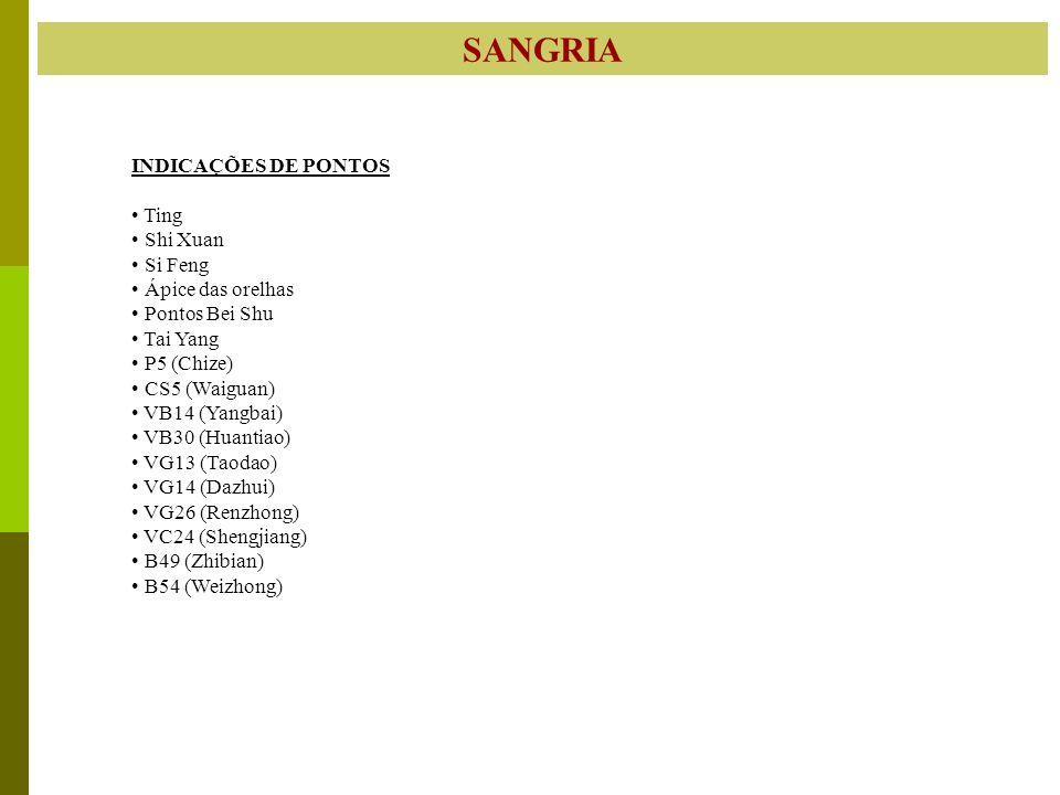 SANGRIA INDICAÇÕES DE PONTOS Ting Shi Xuan Si Feng Ápice das orelhas