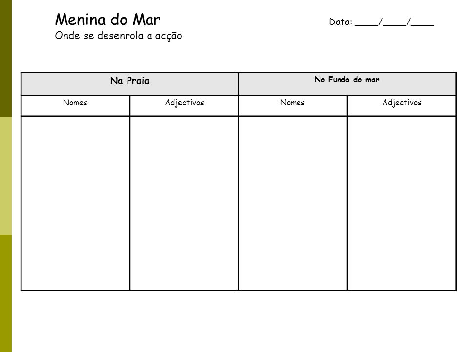 Menina do Mar Data: ____/____/____