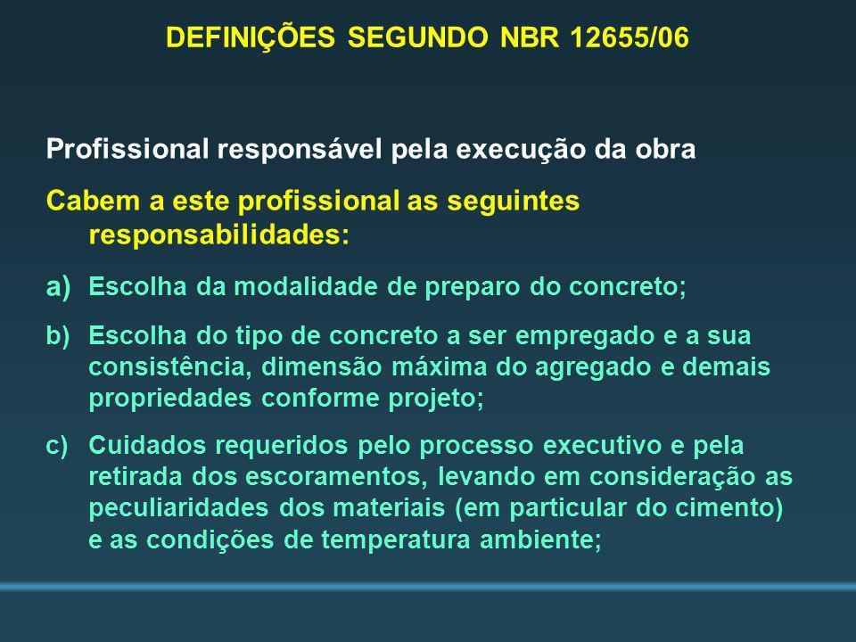 DEFINIÇÕES SEGUNDO NBR 12655/06