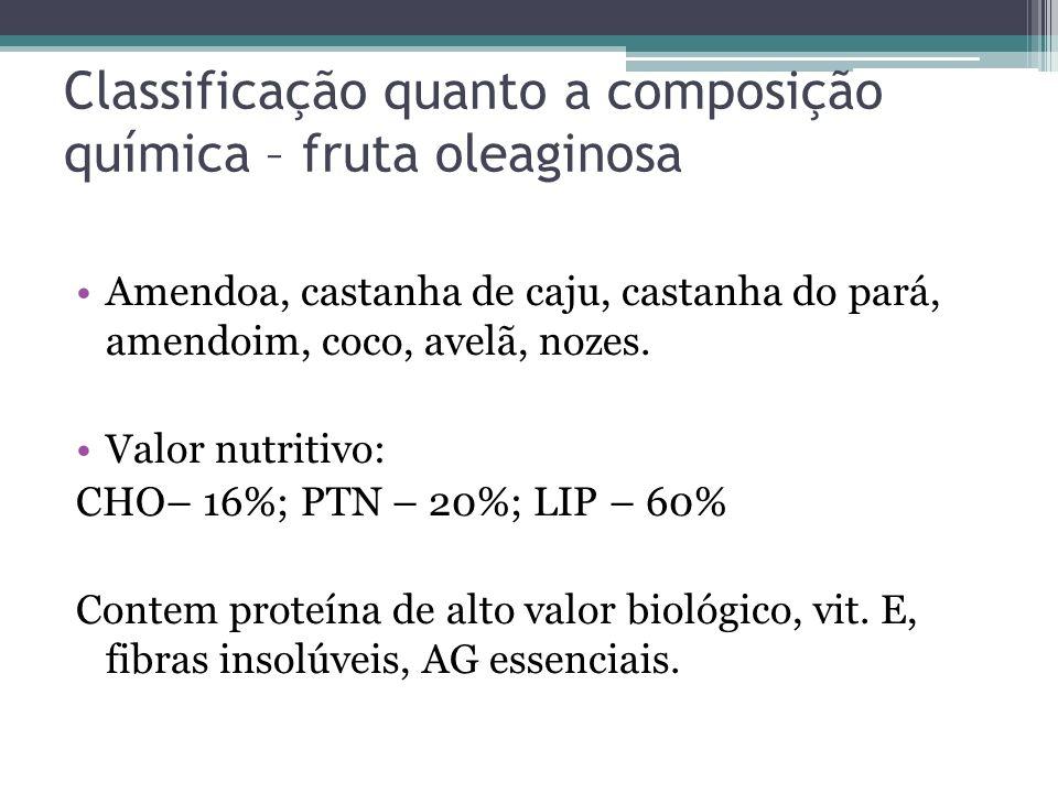 Classificação quanto a composição química – fruta oleaginosa