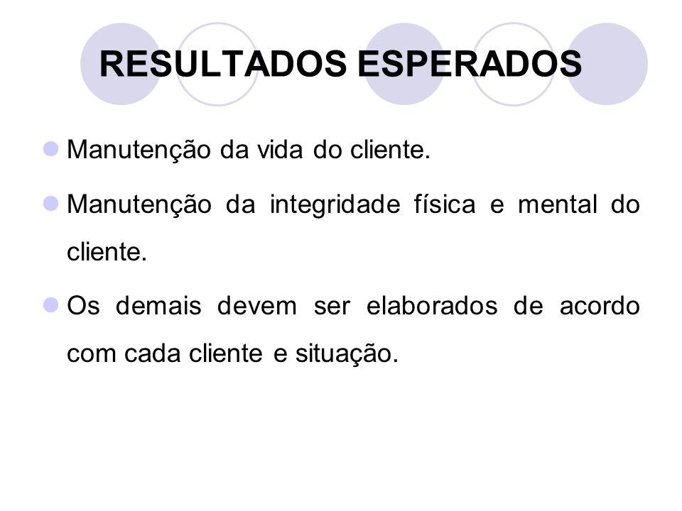 RESULTADOS ESPERADOS Manutenção da vida do cliente.