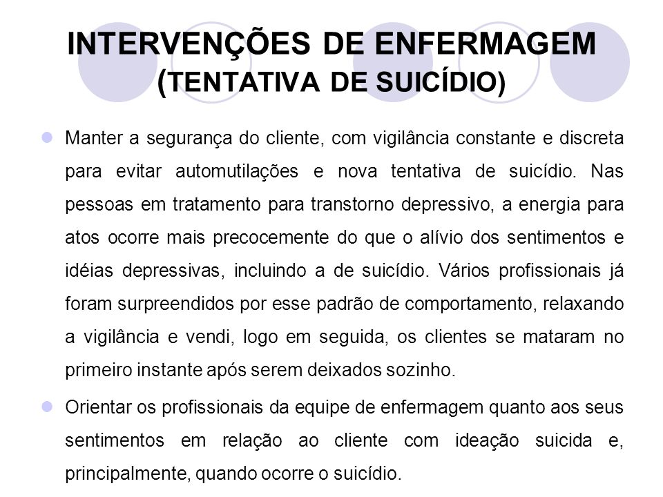 INTERVENÇÕES DE ENFERMAGEM (TENTATIVA DE SUICÍDIO)