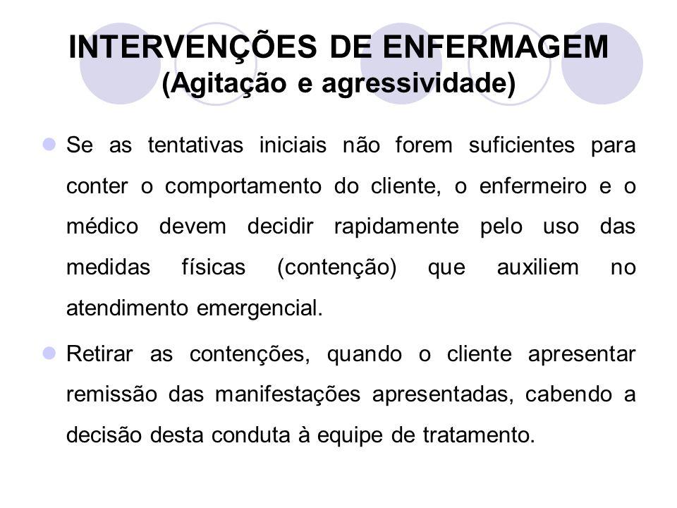 INTERVENÇÕES DE ENFERMAGEM (Agitação e agressividade)