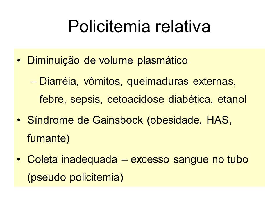 Policitemia relativa Diminuição de volume plasmático
