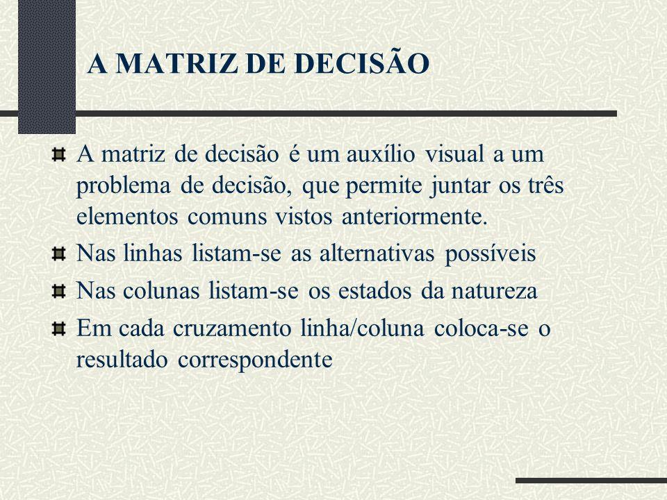 A MATRIZ DE DECISÃO