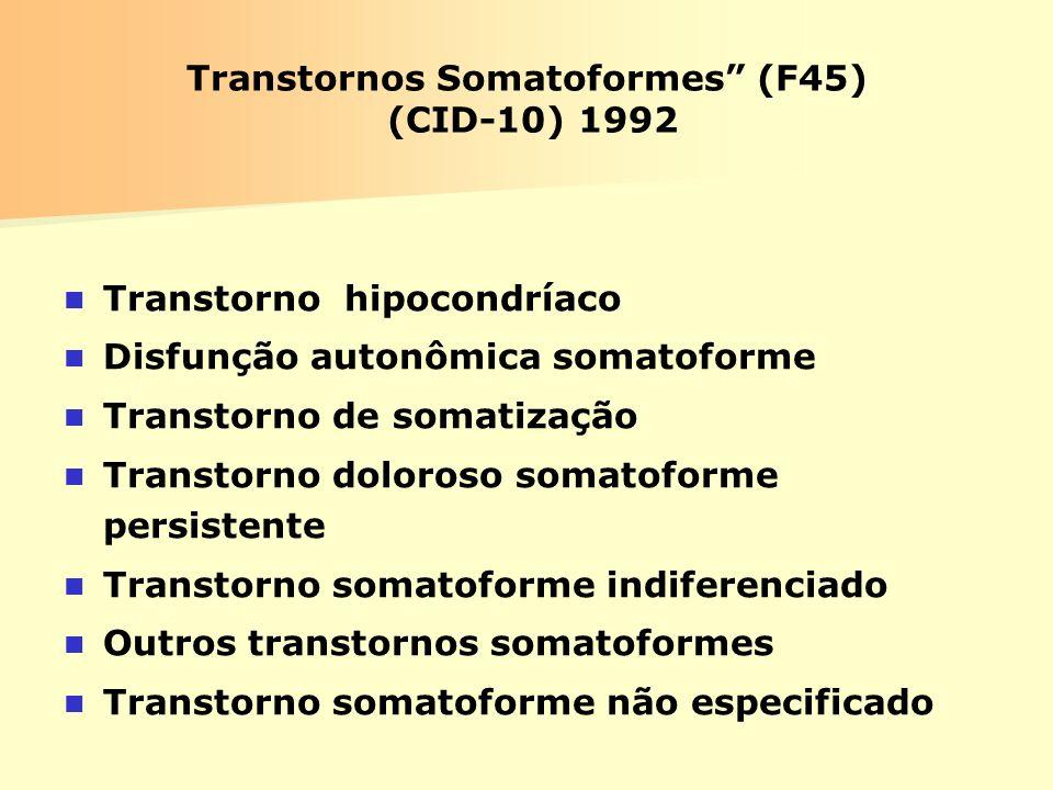 Transtornos Somatoformes (F45) (CID-10) 1992