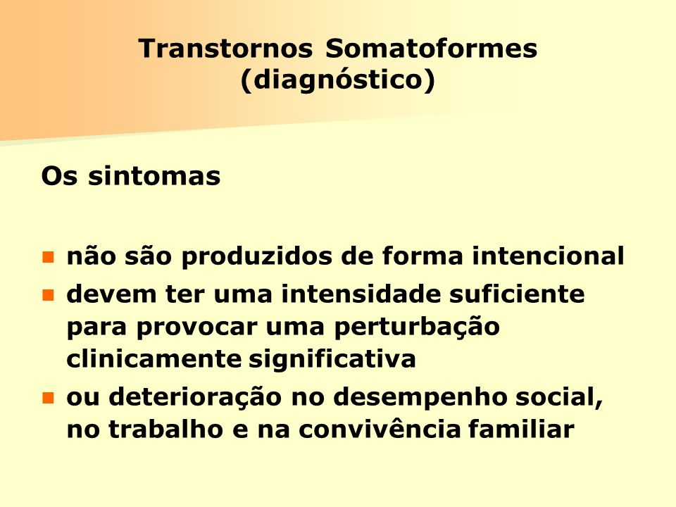 Transtornos Somatoformes (diagnóstico)
