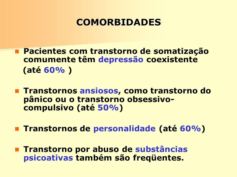 COMORBIDADES Pacientes com transtorno de somatização comumente têm depressão coexistente. (até 60% )