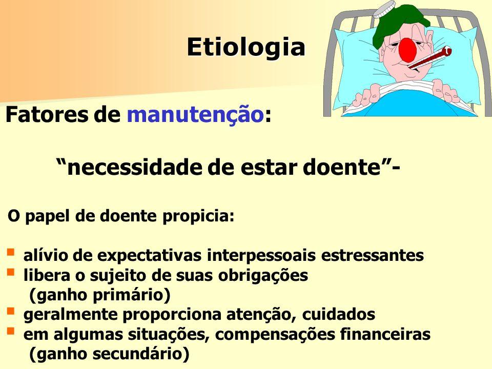 Etiologia Fatores de manutenção: necessidade de estar doente -