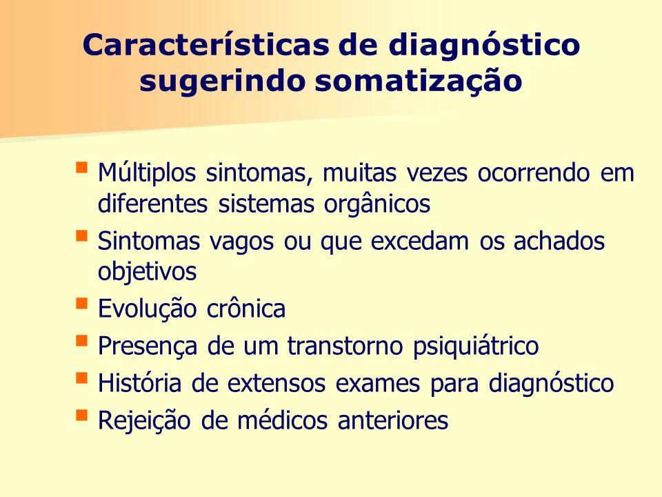 Características de diagnóstico sugerindo somatização