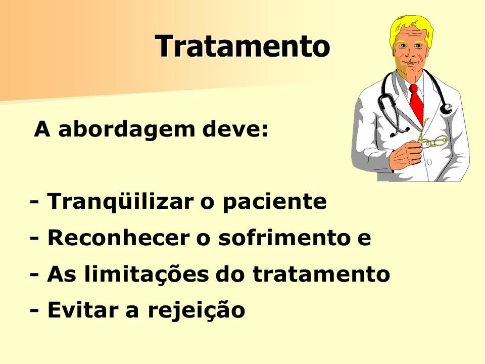 Tratamento - Tranqüilizar o paciente - Reconhecer o sofrimento e