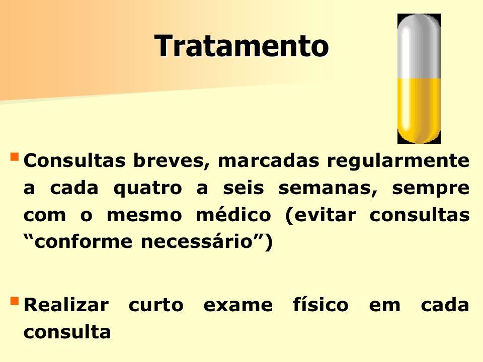 Tratamento Consultas breves, marcadas regularmente a cada quatro a seis semanas, sempre com o mesmo médico (evitar consultas conforme necessário )