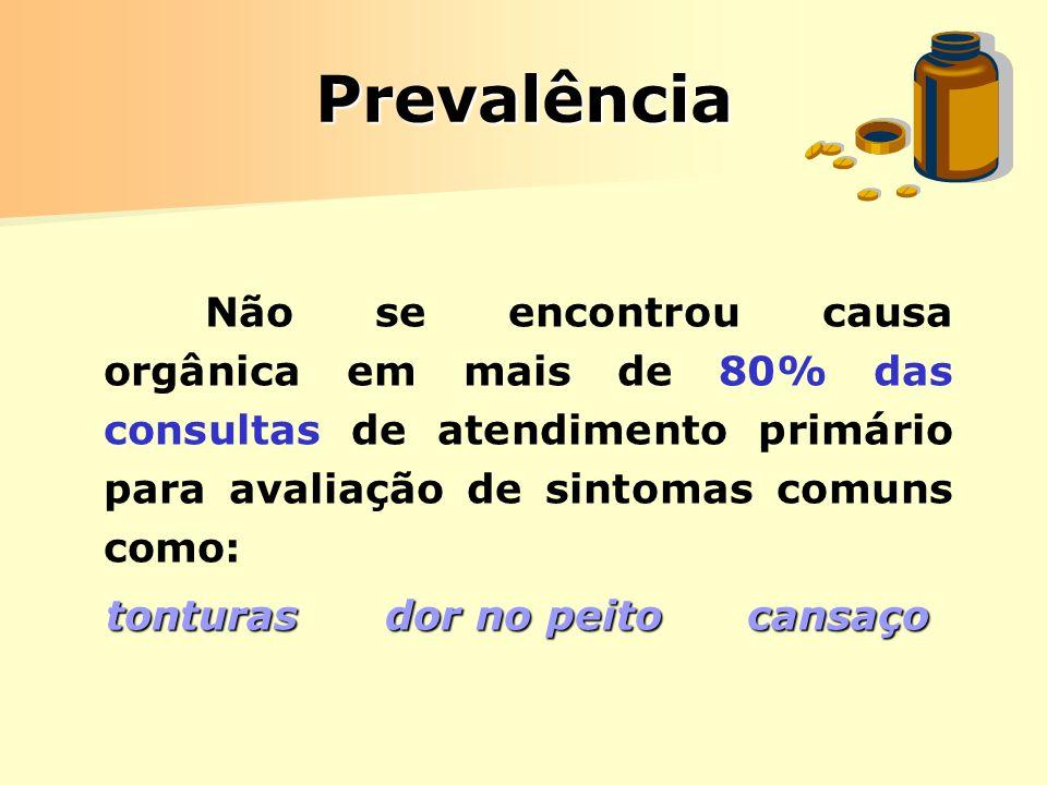 PrevalênciaNão se encontrou causa orgânica em mais de 80% das consultas de atendimento primário para avaliação de sintomas comuns como: