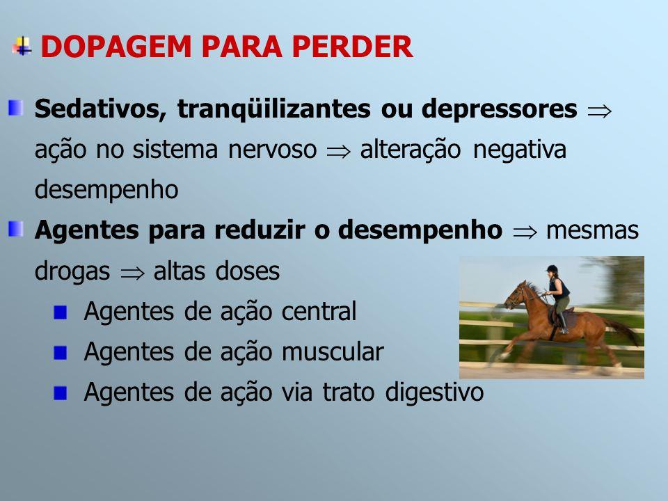 DOPAGEM PARA PERDER Sedativos, tranqüilizantes ou depressores  ação no sistema nervoso  alteração negativa desempenho.