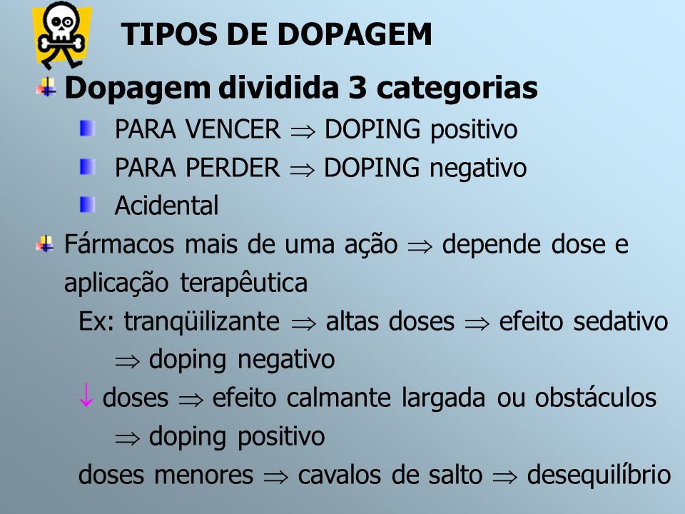 Dopagem dividida 3 categorias