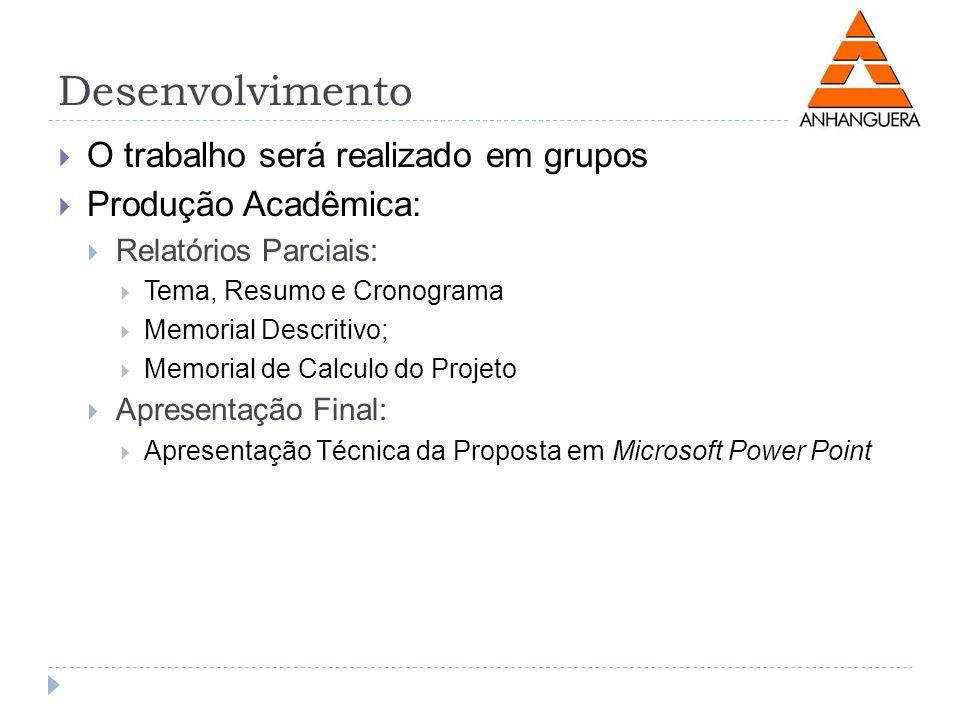 Desenvolvimento O trabalho será realizado em grupos
