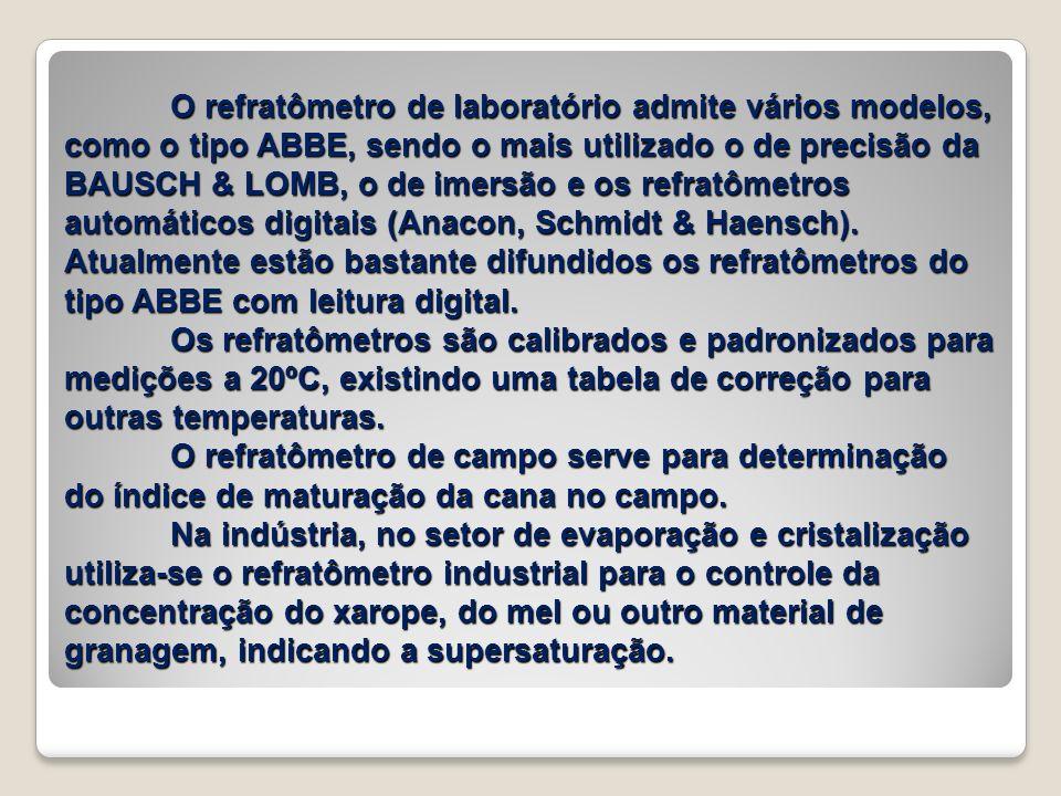 O refratômetro de laboratório admite vários modelos, como o tipo ABBE, sendo o mais utilizado o de precisão da BAUSCH & LOMB, o de imersão e os refratômetros automáticos digitais (Anacon, Schmidt & Haensch).