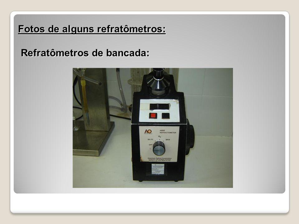 Fotos de alguns refratômetros: Refratômetros de bancada: