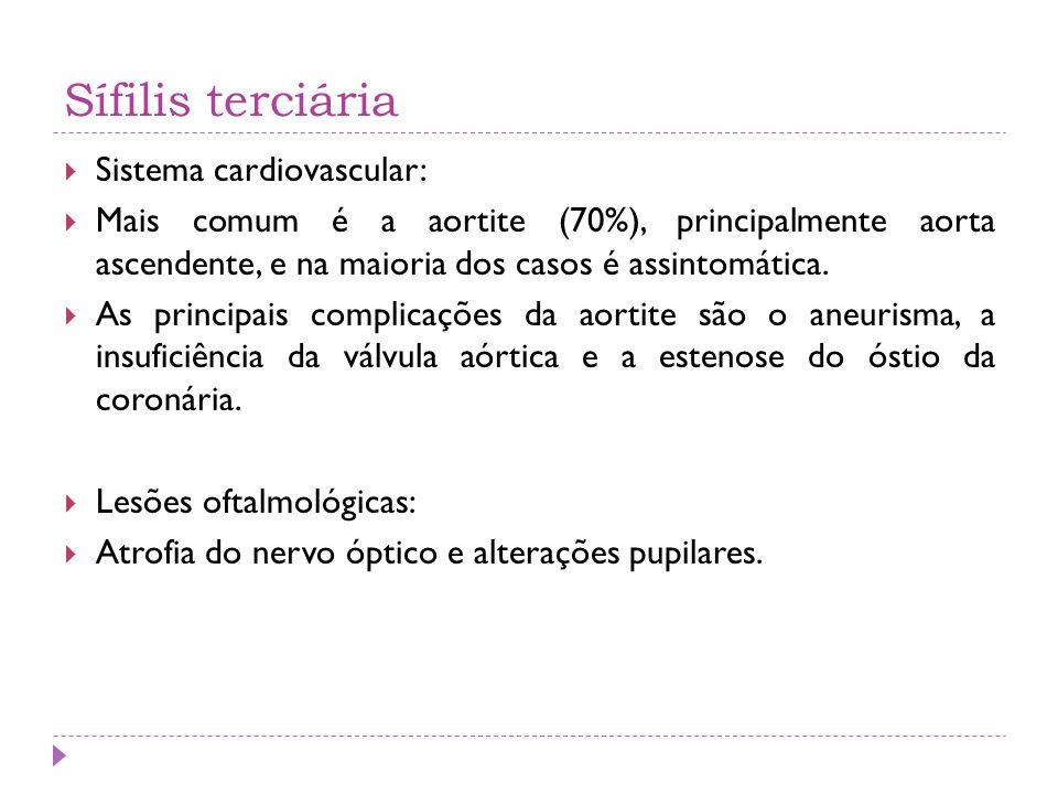 Sífilis terciária Sistema cardiovascular: