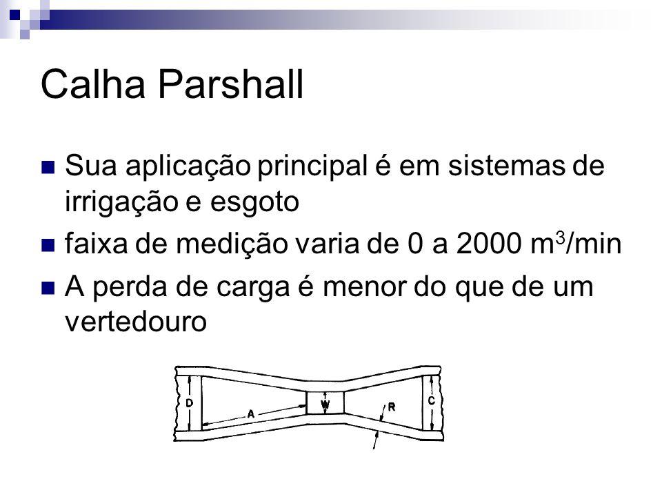 Calha Parshall Sua aplicação principal é em sistemas de irrigação e esgoto. faixa de medição varia de 0 a 2000 m3/min.