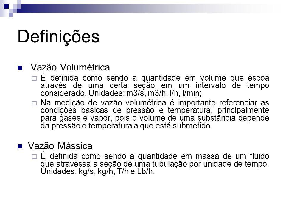 Definições Vazão Volumétrica Vazão Mássica