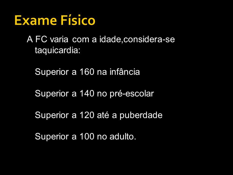A FC varia com a idade,considera-se taquicardia: