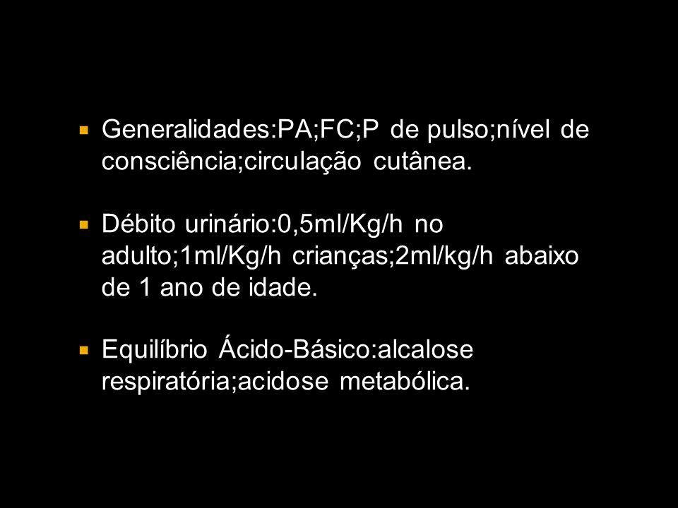Generalidades:PA;FC;P de pulso;nível de consciência;circulação cutânea.