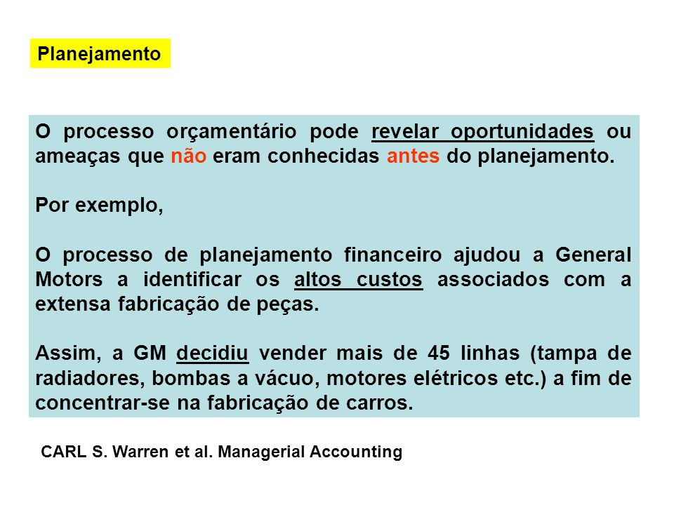 Planejamento O processo orçamentário pode revelar oportunidades ou ameaças que não eram conhecidas antes do planejamento.