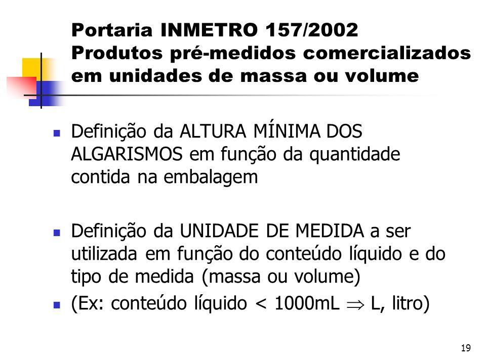 Portaria INMETRO 157/2002 Produtos pré-medidos comercializados em unidades de massa ou volume