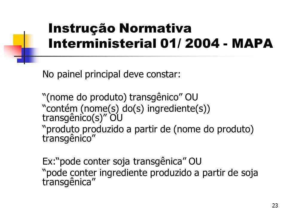 Instrução Normativa Interministerial 01/ 2004 - MAPA