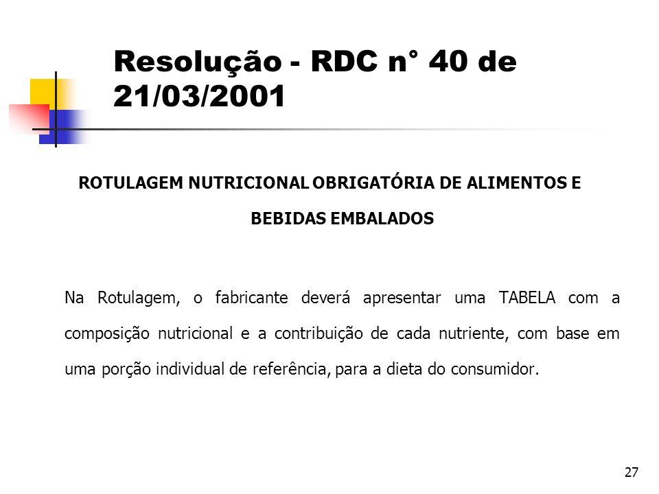 ROTULAGEM NUTRICIONAL OBRIGATÓRIA DE ALIMENTOS E BEBIDAS EMBALADOS