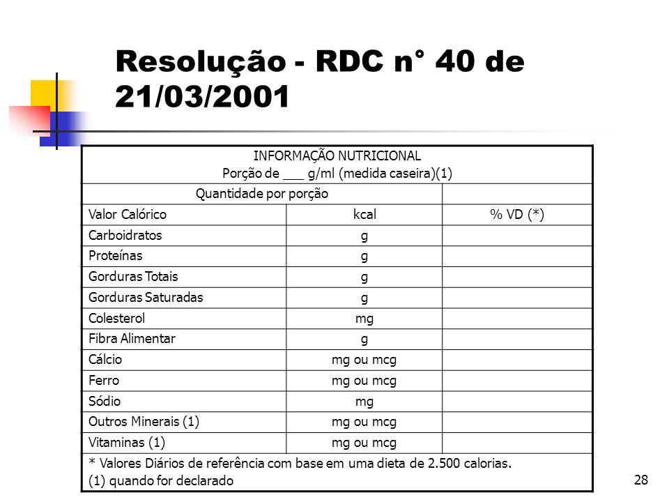 Resolução - RDC n° 40 de 21/03/2001 INFORMAÇÃO NUTRICIONAL