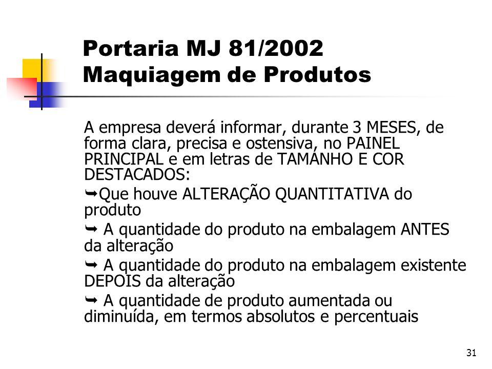 Portaria MJ 81/2002 Maquiagem de Produtos