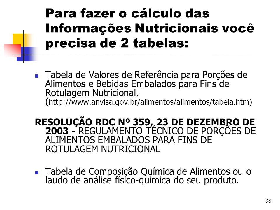 Para fazer o cálculo das Informações Nutricionais você precisa de 2 tabelas:
