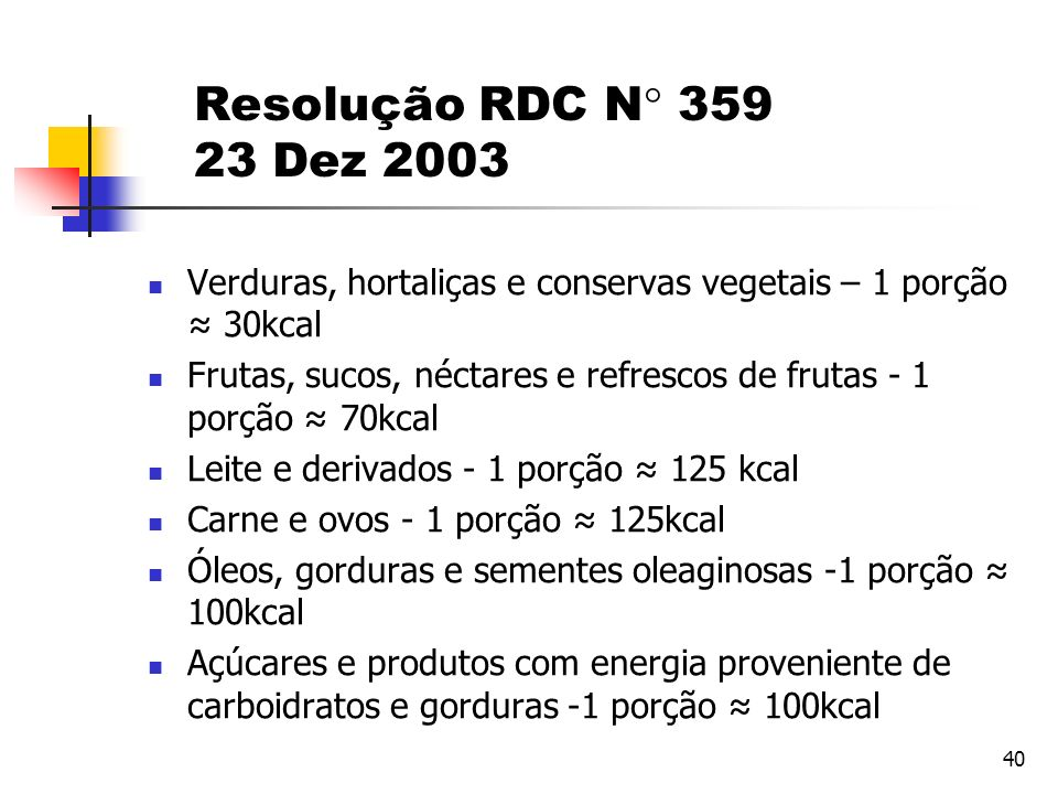 Resolução RDC N 359 23 Dez 2003 Verduras, hortaliças e conservas vegetais – 1 porção ≈ 30kcal.