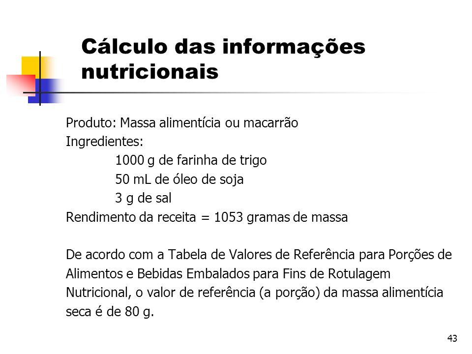 Cálculo das informações nutricionais