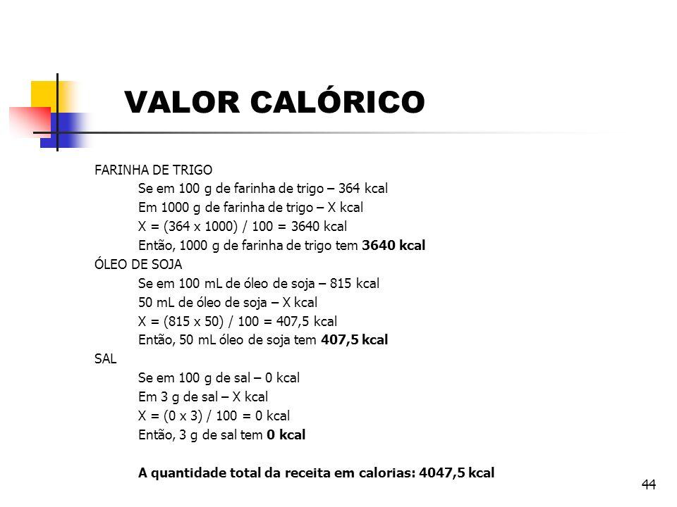 VALOR CALÓRICO FARINHA DE TRIGO