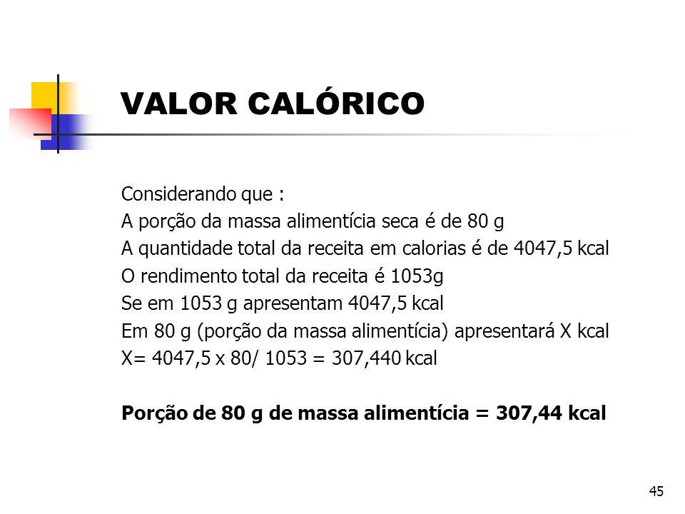 VALOR CALÓRICO Considerando que :