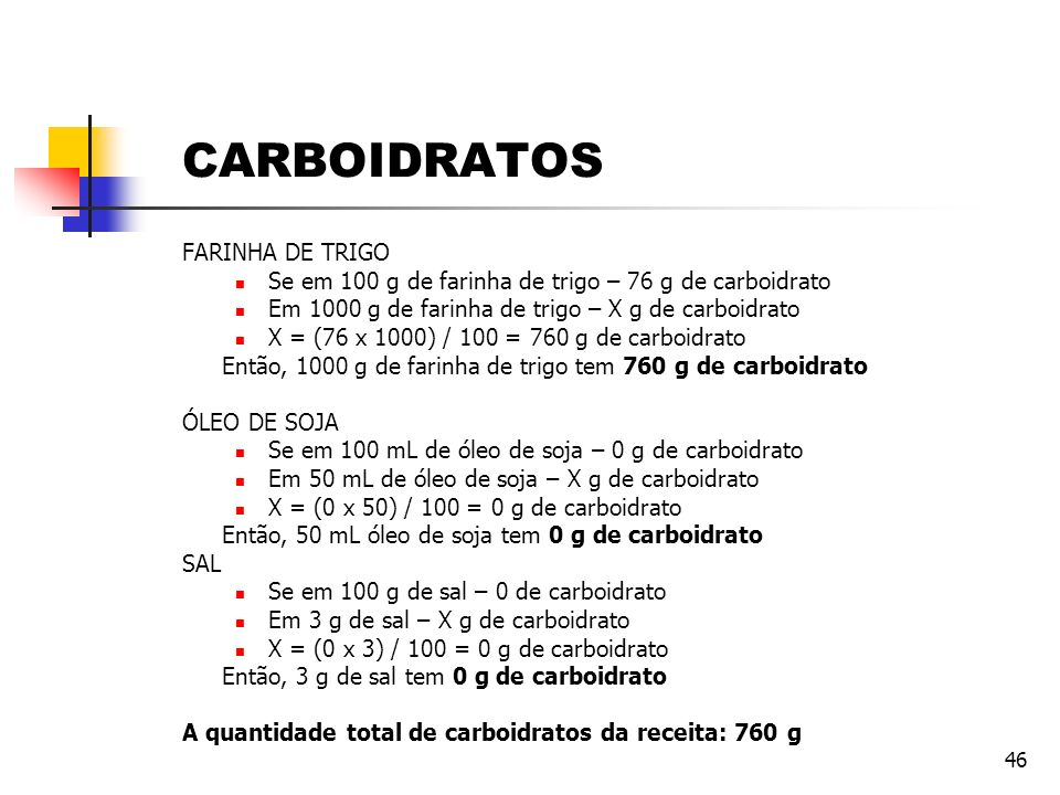 CARBOIDRATOS FARINHA DE TRIGO