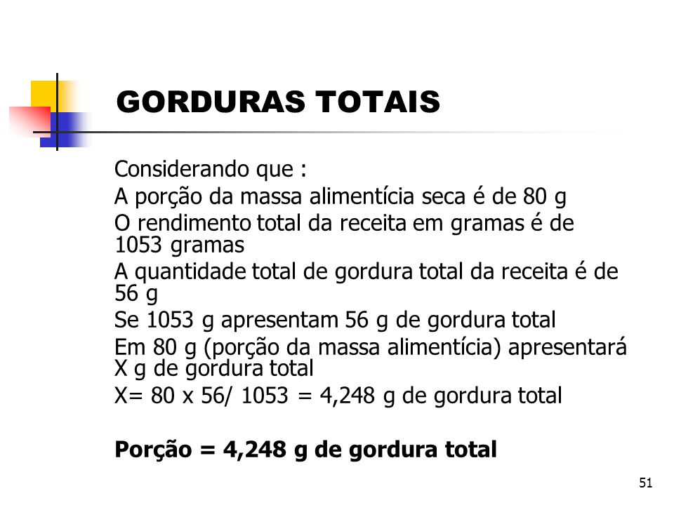 GORDURAS TOTAIS Considerando que :