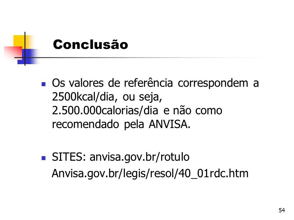 Conclusão Os valores de referência correspondem a 2500kcal/dia, ou seja, 2.500.000calorias/dia e não como recomendado pela ANVISA.
