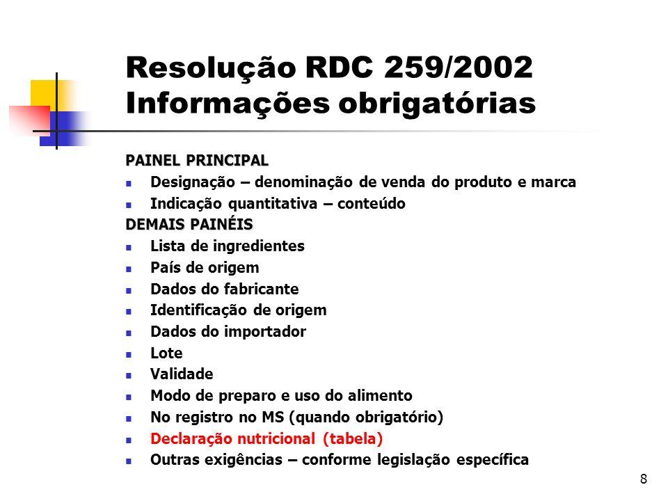 Resolução RDC 259/2002 Informações obrigatórias