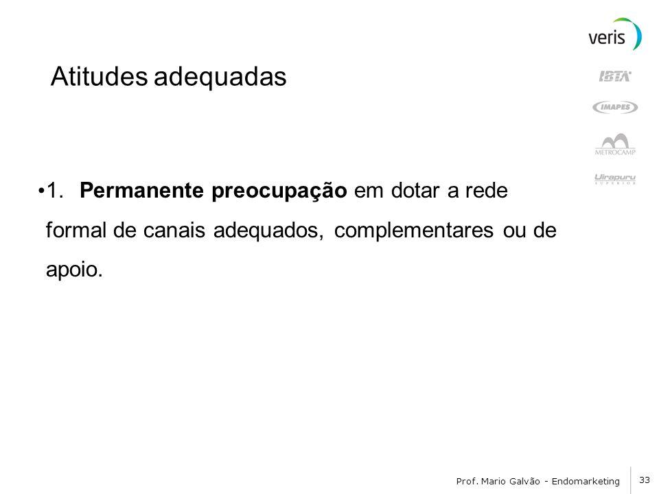 Atitudes adequadas 1. Permanente preocupação em dotar a rede formal de canais adequados, complementares ou de apoio.