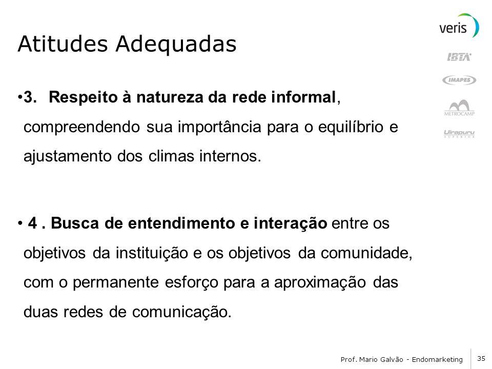 Atitudes Adequadas 3. Respeito à natureza da rede informal, compreendendo sua importância para o equilíbrio e ajustamento dos climas internos.