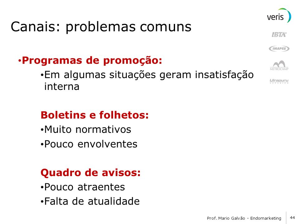 Canais: problemas comuns