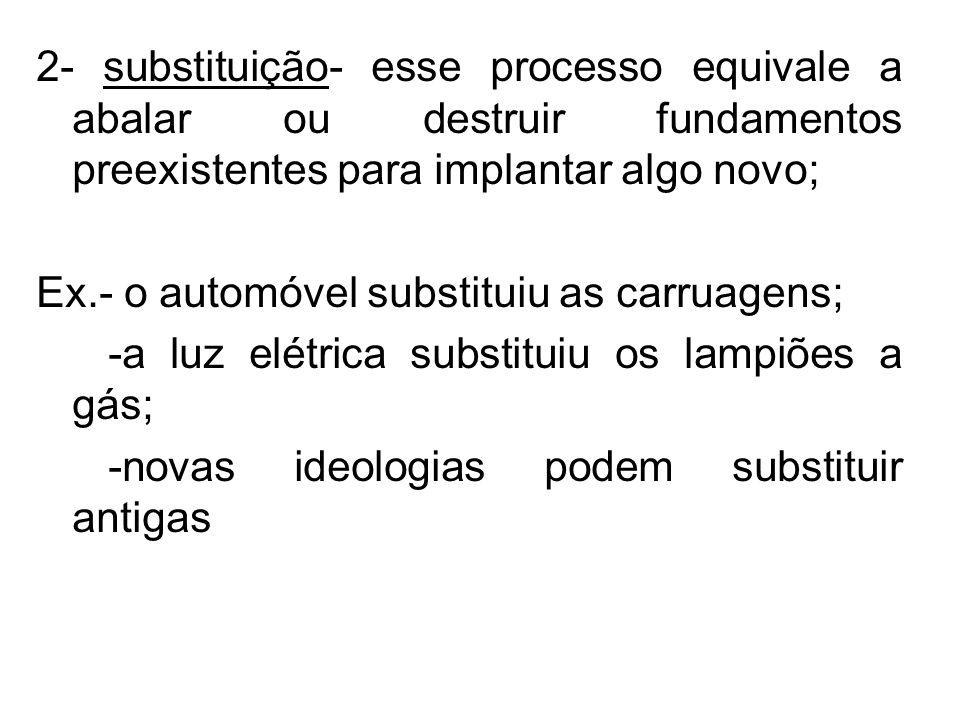 2- substituição- esse processo equivale a abalar ou destruir fundamentos preexistentes para implantar algo novo;