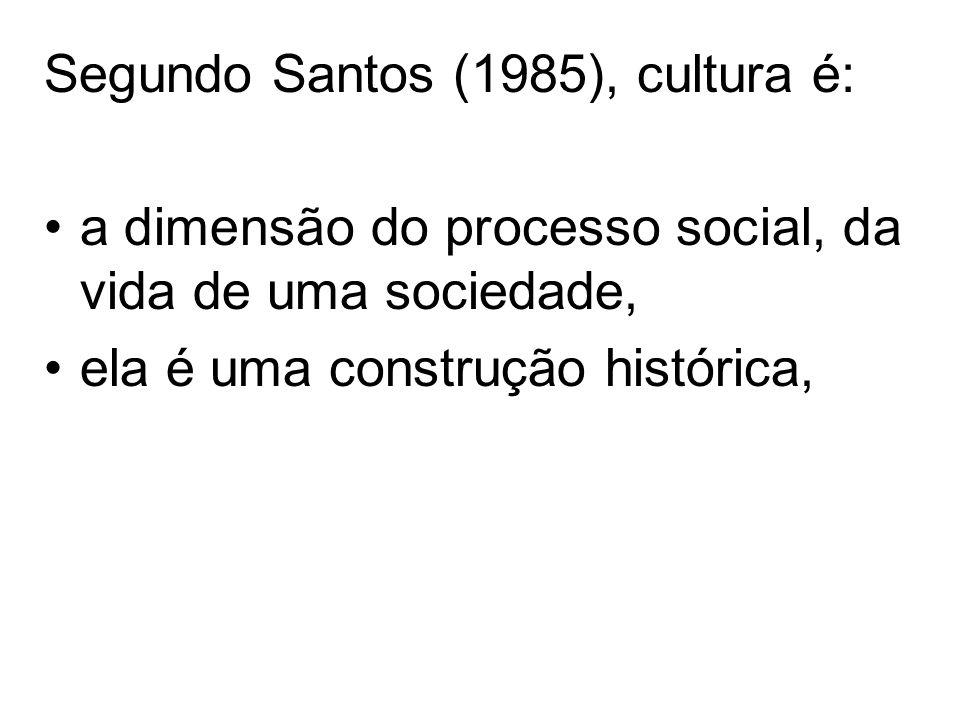 Segundo Santos (1985), cultura é: