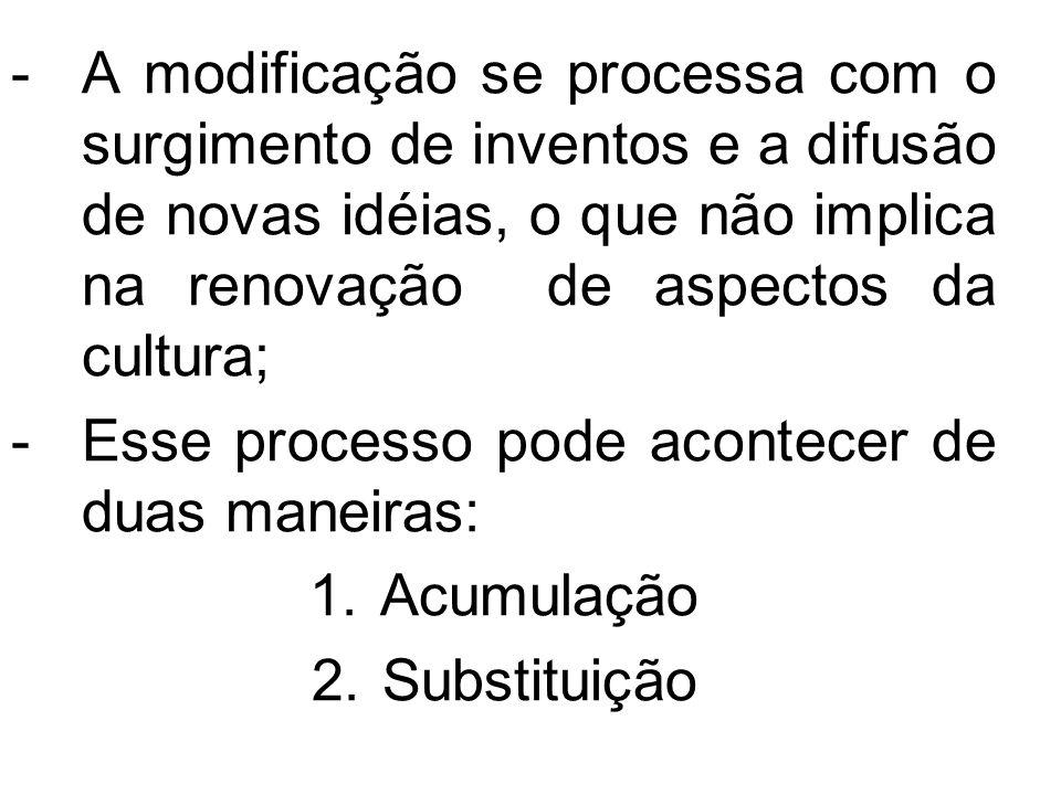 A modificação se processa com o surgimento de inventos e a difusão de novas idéias, o que não implica na renovação de aspectos da cultura;