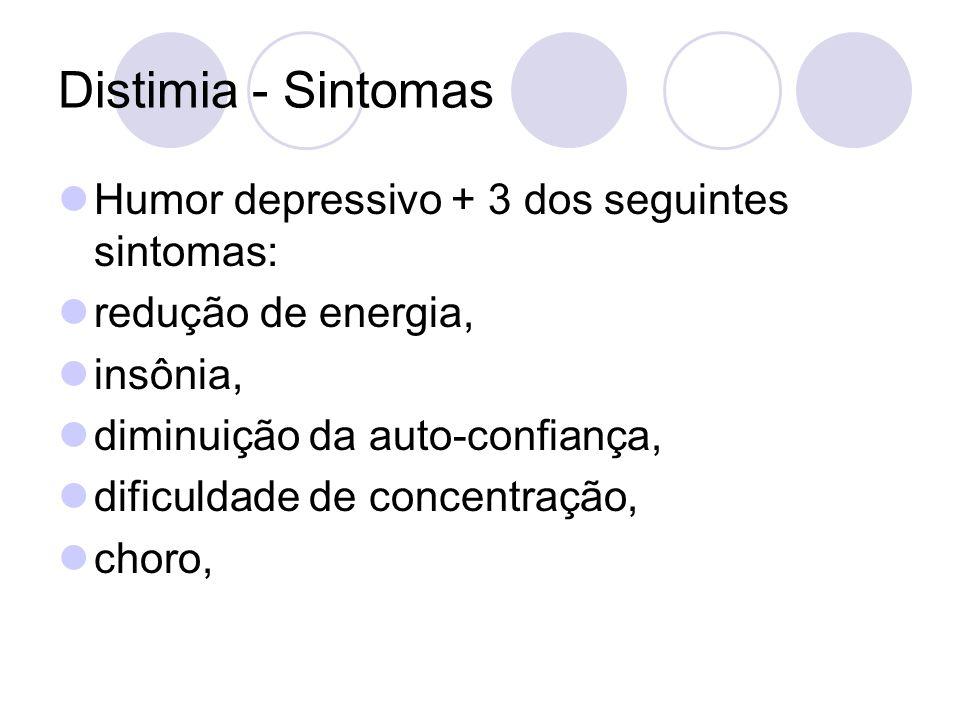 Distimia - Sintomas Humor depressivo + 3 dos seguintes sintomas:
