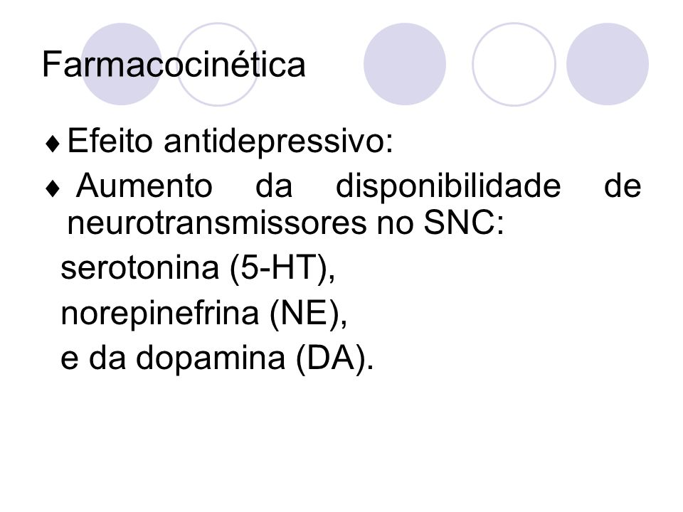 Farmacocinética Efeito antidepressivo: